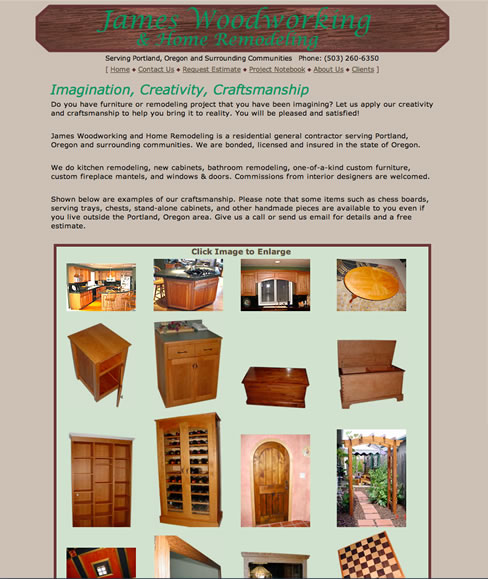 Click to go to James Woodworking and Remodeling Web Site